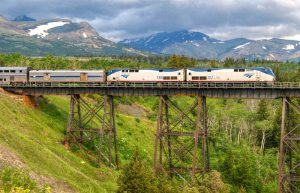 Eastbound Empire Builder at Two Medicine Trestle East Glacier MT